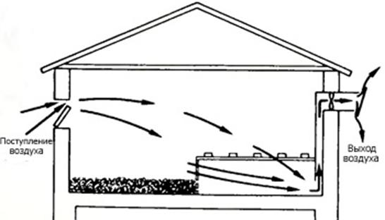 Естественная вентиляция схема в курятнике