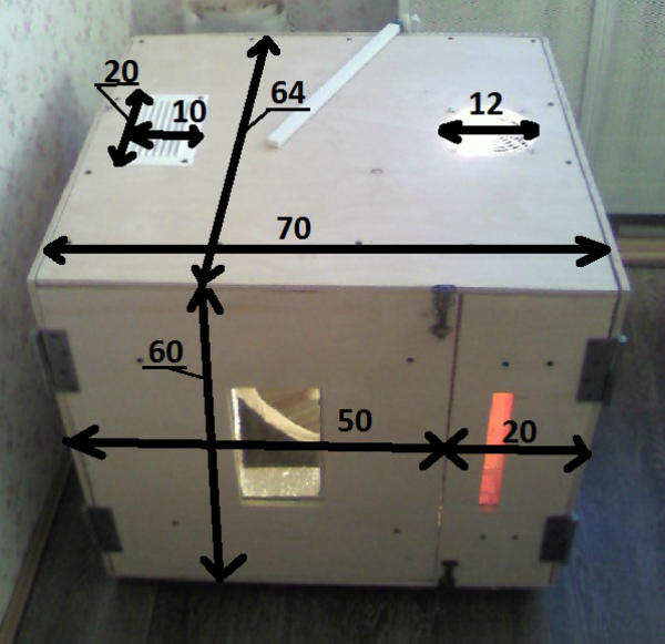 Примерные размеры инкубатора из пенопласта