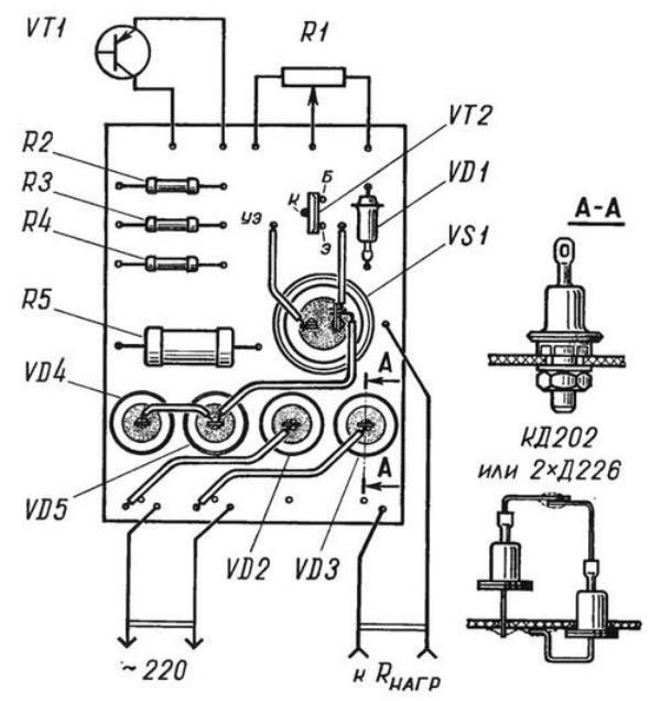Электросхема для сборки терморегулятора